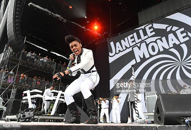 Artist Janelle Monae performs at the Bonnaroo Music Arts Festival on June 13 2014 in Manchester Tennessee