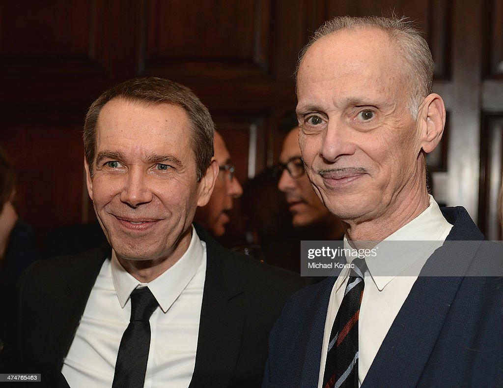 Artist Jeff Koons (L) and director John Waters attend the Dom Perignon Reception after The Un-Private Collection: Jeff Koons and John Waters in Conversation at Orpheum Theatre on February 24, 2014 in Los Angeles, California.