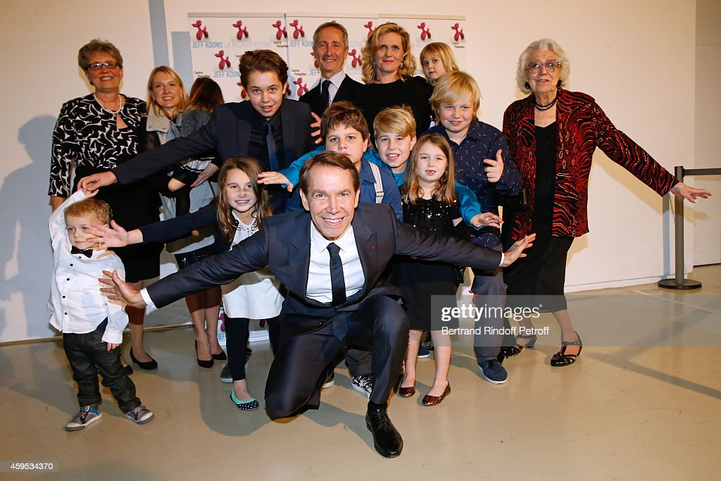 his wife Justine, his mother Gloria, his sister Karen, his children Sean, Kurt, Blake, Eric, Kayla, Mick, Scarlet, Megan, Jaclyn and Director of the Centre Pompidou Museum of Modern Art Bernard Blistene attend the '<a gi-track='captionPersonalityLinkClicked' href=/galleries/search?phrase=Jeff+Koons&family=editorial&specificpeople=220233 ng-click='$event.stopPropagation()'>Jeff Koons</a>' Retrospective Exhibition : Opening Evening at Beaubourg on November 24, 2014 in Paris, France.