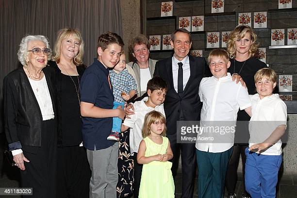 Artist Jeff Koons and Justine Wheeler Koons pose with family at Jeff Koons A Retrospective at The Whitney Museum of American Art on June 24 2014 in...