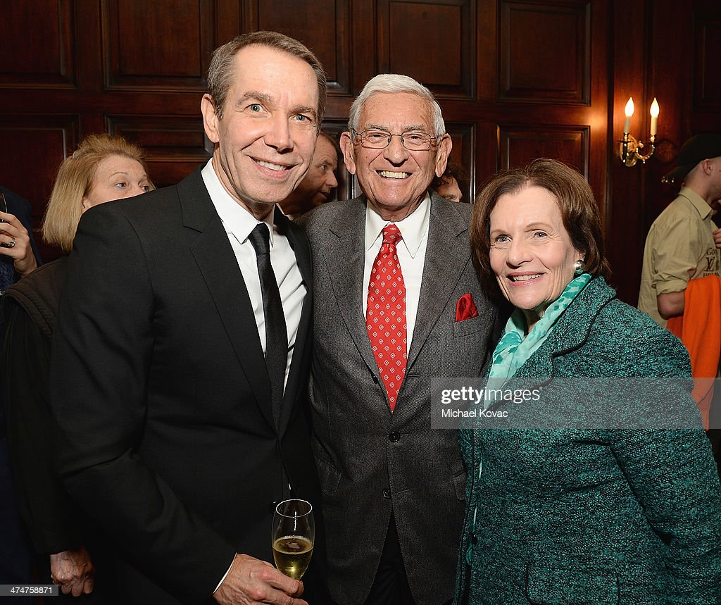 Artist <a gi-track='captionPersonalityLinkClicked' href=/galleries/search?phrase=Jeff+Koons&family=editorial&specificpeople=220233 ng-click='$event.stopPropagation()'>Jeff Koons</a>, <a gi-track='captionPersonalityLinkClicked' href=/galleries/search?phrase=Eli+Broad&family=editorial&specificpeople=627780 ng-click='$event.stopPropagation()'>Eli Broad</a>, and <a gi-track='captionPersonalityLinkClicked' href=/galleries/search?phrase=Edythe+Broad&family=editorial&specificpeople=712285 ng-click='$event.stopPropagation()'>Edythe Broad</a> attend the Dom Perignon Reception after The Un-Private Collection: <a gi-track='captionPersonalityLinkClicked' href=/galleries/search?phrase=Jeff+Koons&family=editorial&specificpeople=220233 ng-click='$event.stopPropagation()'>Jeff Koons</a> and John Waters in Conversation at Orpheum Theatre on February 24, 2014 in Los Angeles, California.