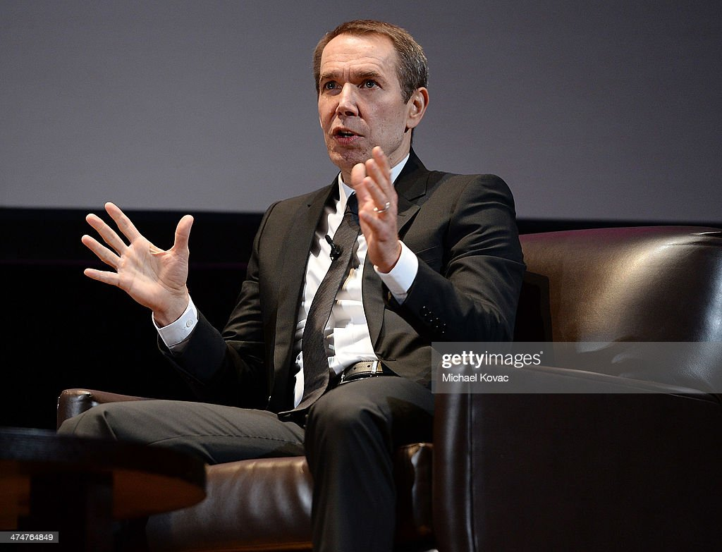 Artist <a gi-track='captionPersonalityLinkClicked' href=/galleries/search?phrase=Jeff+Koons&family=editorial&specificpeople=220233 ng-click='$event.stopPropagation()'>Jeff Koons</a> presents onstage at The Un-Private Collection: <a gi-track='captionPersonalityLinkClicked' href=/galleries/search?phrase=Jeff+Koons&family=editorial&specificpeople=220233 ng-click='$event.stopPropagation()'>Jeff Koons</a> and John Waters in Conversation at Orpheum Theatre on February 24, 2014 in Los Angeles, California.