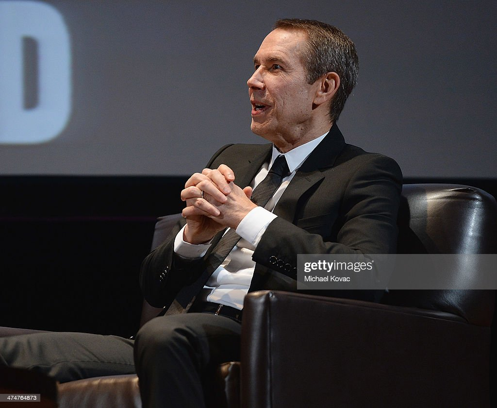 Artist Jeff Koons presents onstage at The Un-Private Collection: Jeff Koons and John Waters in Conversation at Orpheum Theatre on February 24, 2014 in Los Angeles, California.