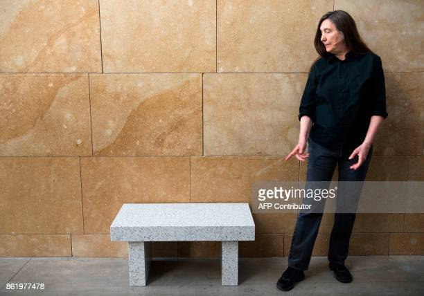 US artist Jenny Holzer speaks about her artwork 'Living Series It can be startling to see someone's breath' at the Guggenheim Museum in the northern...