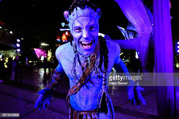 Artist Jeremiah Hughes from Cirque du Soleil's touring show 'TORUK The First Flight' poses during a special appearance at 'Party at The Park' at The...