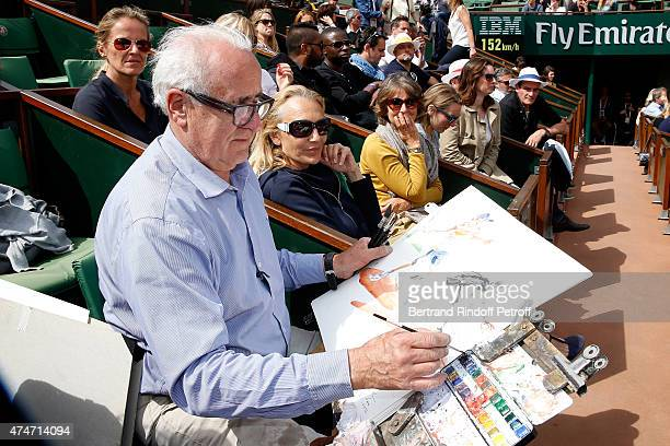 Artist Joel Blanc draws French Tennis player Gilles Simon during his match in the 2015 Roland Garros French Tennis Open Day 2 on May 25 2015 in Paris...