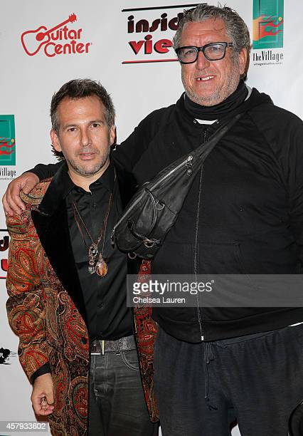 Artist Joey Feldman and musician Steve Jones arrive at an evening of art with Billy Morrison and Joey Feldman benefiting the Rock Against MS...