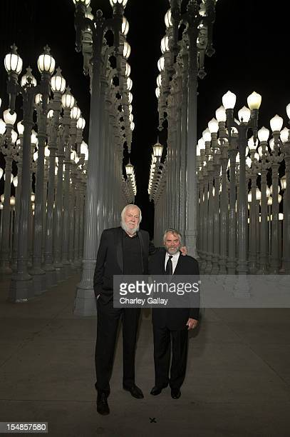Artist John Baldessari and Bob Monk attend LACMA 2012 Art Film Gala Honoring Ed Ruscha and Stanley Kubrick presented by Gucci at LACMA on October 27...