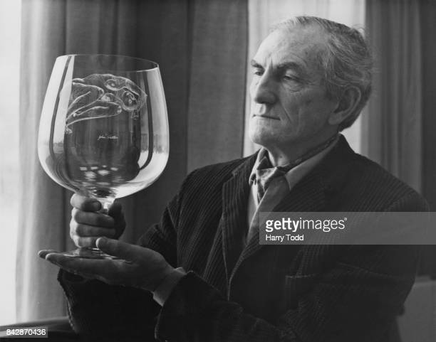 Artist John Hutton with a large glass goblet on which he has engraved a reclining nude 6th March 1969 An exhibition of his works is being held at the...