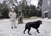 Artist John Wulp at his Vinalhaven home with his dog Jude Tuesday Jan 31 2012