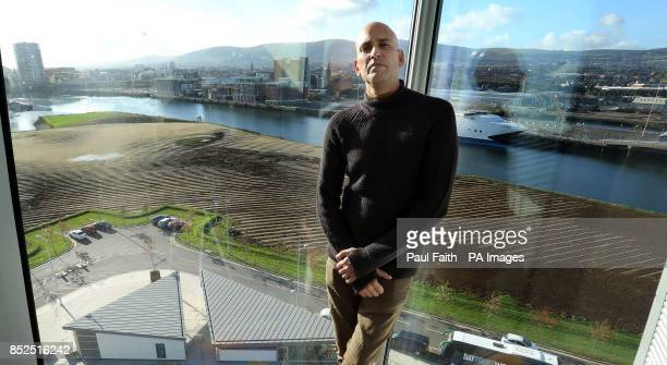 Artist Jorge Rodriguez stands in front of his Land Art Portrait at the Titanic quarter in Belfast as part of the Ulster Bank Belfast Festival at...