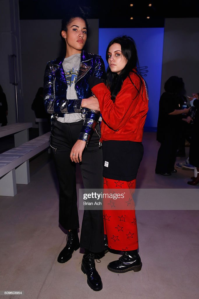 Artist Jude Liana and VFiles buyer Danielle Greco pose backstage at the Kye Fall 2016 fashion show during New York Fashion Week: The Shows at The Gallery, Skylight at Clarkson Square on February 11, 2016 in New York City.