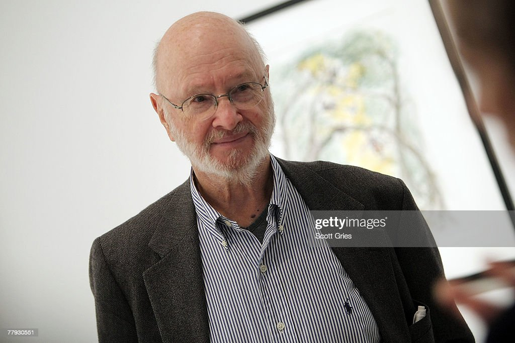 Artist Jules Feiffer (C) discusses his piece on display during a press preview of the Metropolitan Opera's and The New Yorker's exhibition of 'Hansel and Gretel' at the Arnold & Marie Schwartz Gallery Met on November 15, 2007 in New York City.
