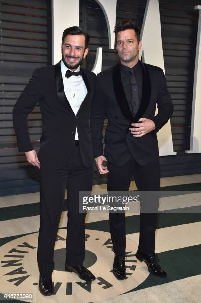 Artist Jwan Yosef and recording artist Ricky Martin attend the 2017 Vanity Fair Oscar Party hosted by Graydon Carter at Wallis Annenberg Center for...