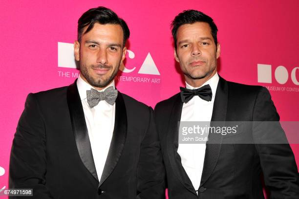 Artist Jwan Yosef and singer Ricky Martin at the MOCA Gala 2017 honoring Jeff Koons at The Geffen Contemporary at MOCA on April 29 2017 in Los...