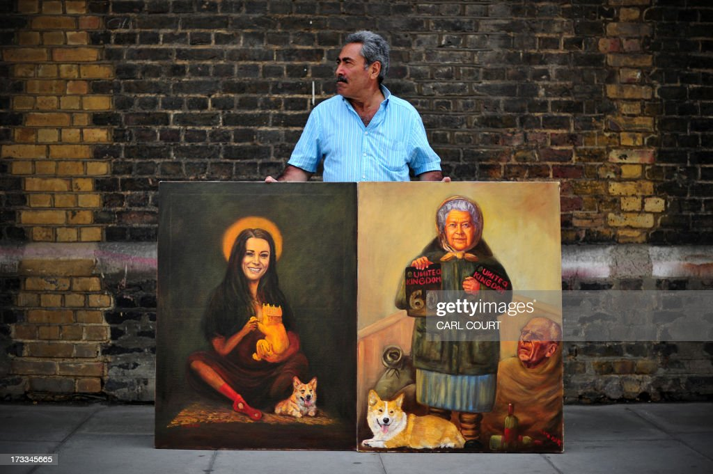 Artist Kaya Mar poses with paintings of Britain's Queen Elizabeth II (R) and Catherine (L), Duchess of Cambridge, outside the Lindo Wing of Saint Mary's Hospital in London, on July 12, 2013, where Prince William and his wife Catherine's baby will be born. Britain's royal family and the world's media are on tenterhooks awaiting the birth of Prince William and wife Catherine's first child, a baby who will one day be king or queen of Britain and a diverse group of commonwealth countries.