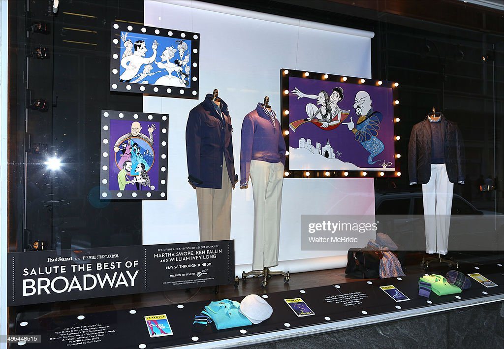 Artist Ken Fallin drawings of Broadways 'Cinderella' 'Motown The Musical' and 'Aladdin' in a window display at 'A Salute to the Tony Awards' at Paul...
