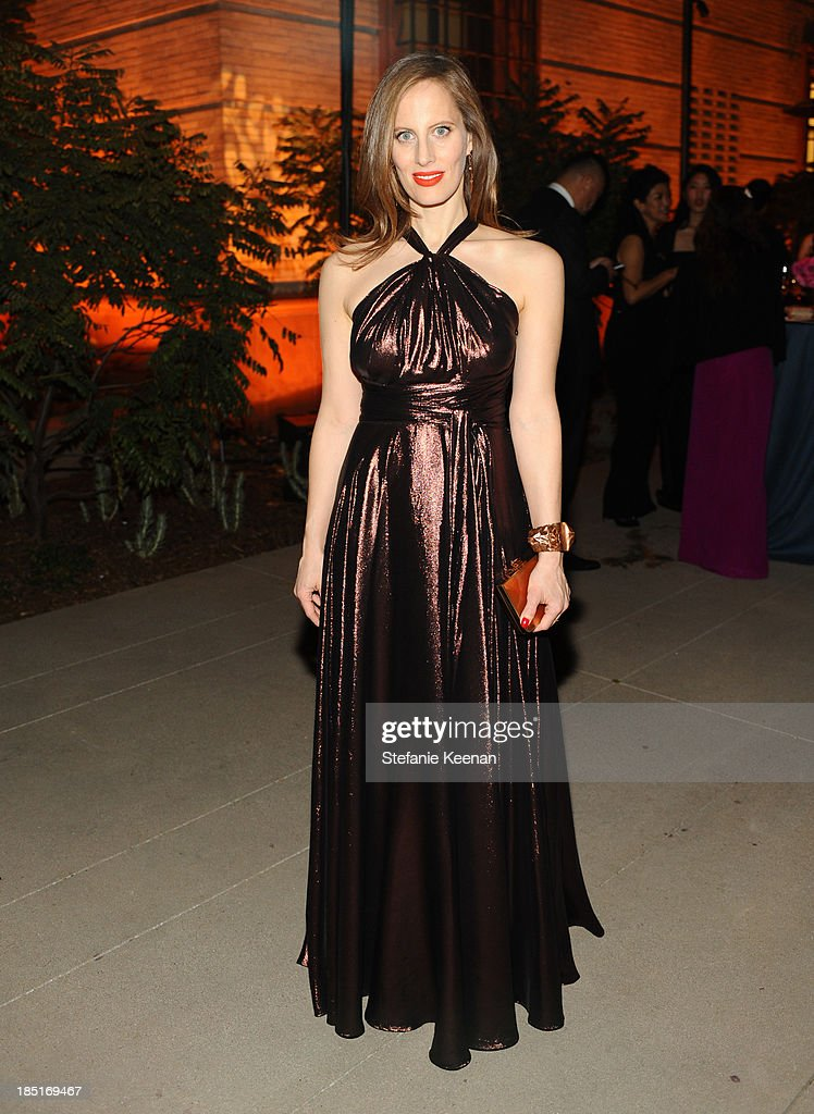 Artist Liz Goldwyn, wearing Ferragamo, attends the Wallis Annenberg Center for the Performing Arts Inaugural Gala presented by Salvatore Ferragamo at the Wallis Annenberg Center for the Performing Arts on October 17, 2013 in Beverly Hills, California.