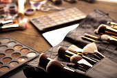 Artist makeup theme, set of cosmetics and accessories