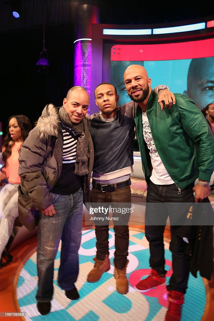 Artist manager Derek Dudley, host <a gi-track='captionPersonalityLinkClicked' href=/galleries/search?phrase=Bow+Wow+-+Rapper&family=editorial&specificpeople=211211 ng-click='$event.stopPropagation()'>Bow Wow</a>, and rapper/actor Common visit BET's '106 & Park' at 106 & Park Studio on January 18, 2013 in New York City.