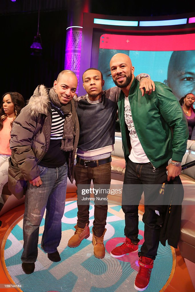 Artist manager Derek Dudley, host <a gi-track='captionPersonalityLinkClicked' href=/galleries/search?phrase=Bow+Wow&family=editorial&specificpeople=211211 ng-click='$event.stopPropagation()'>Bow Wow</a>, and rapper/actor Common visit BET's '106 & Park' at 106 & Park Studio on January 18, 2013 in New York City.