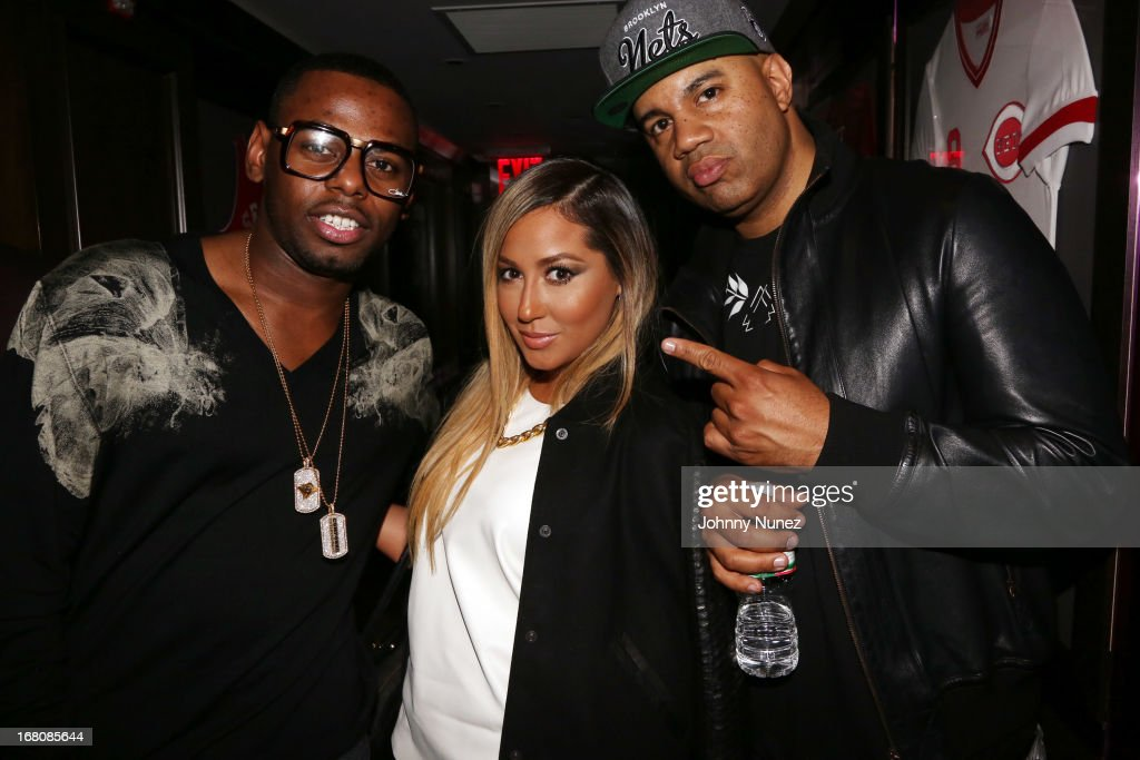 Artist manager Jayvon Smith, singer-songwriter/ TV personality <a gi-track='captionPersonalityLinkClicked' href=/galleries/search?phrase=Adrienne+Bailon&family=editorial&specificpeople=540286 ng-click='$event.stopPropagation()'>Adrienne Bailon</a>, and music executive Lenny S. attend the Rihanna After Party + Fight at the 40 / 40 Club on May 4, 2013, in New York City.
