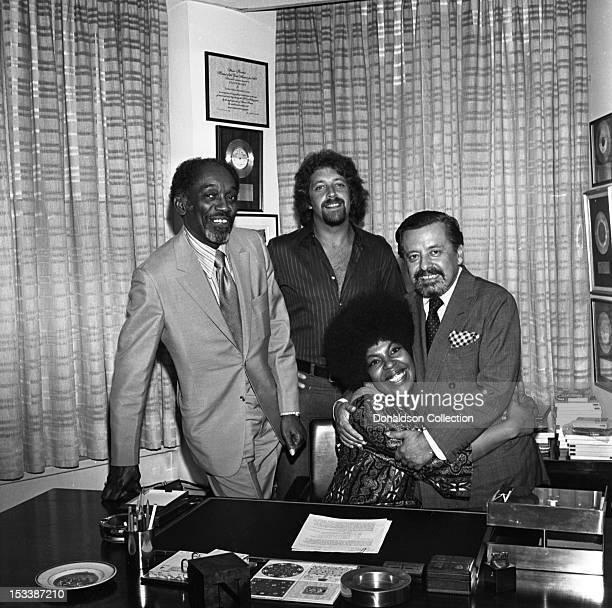 Artist manager John Levy music producer Joel Dorn singer Roberta Flack and Atlantic Records executive Nesuhi Ertegun celebrate Roberta Flack...
