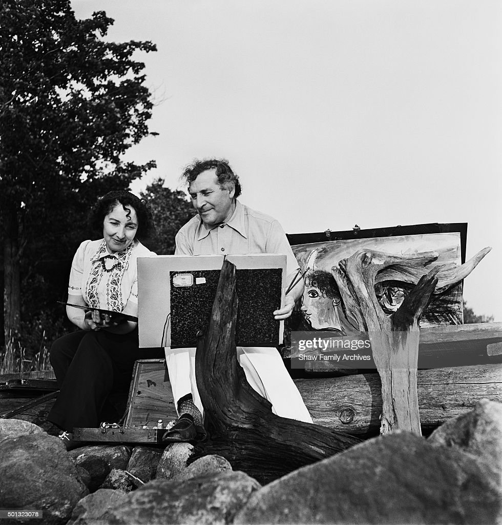 Artist <a gi-track='captionPersonalityLinkClicked' href=/galleries/search?phrase=Marc+Chagall&family=editorial&specificpeople=214176 ng-click='$event.stopPropagation()'>Marc Chagall</a> and wife Bella Rosenfeld Chagall circa 1944 in Cranberry Lake, New York.