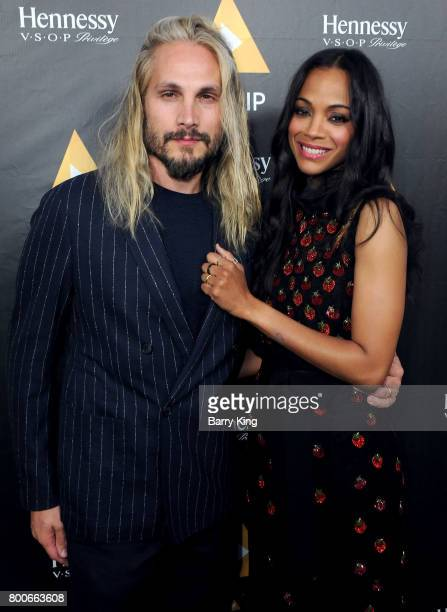Artist Marco Perego and actress Zoe Saldana attend the NALIP 2017 Latino Media Awards at The Ray Dolby Ballroom at Hollywood Highland Center on June...