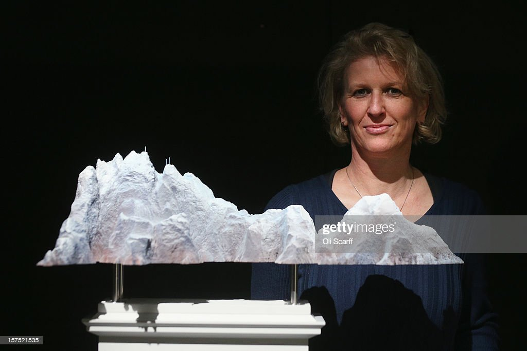 Artist Mariele Neudecker poses with a maquette for her Fourth Plinth proposal entitled 'It's Never Too Late and You Can't Go Back' which features in the exhibition 'Fourth Plinth: Contemporary Monument' at the ICA on December 4, 2012 in London, England. The exhibition at the Institute of Contemporary Arts features maquettes by artists including Tracy Emin, Antony Gormley, Anish Kapoor, it opens tomorrow and runs until January 20, 2013.