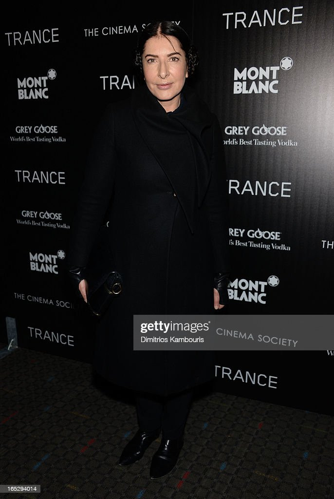 Artist <a gi-track='captionPersonalityLinkClicked' href=/galleries/search?phrase=Marina+Abramovic&family=editorial&specificpeople=2315598 ng-click='$event.stopPropagation()'>Marina Abramovic</a> attends Fox Searchlight Pictures' premiere of 'Trance' hosted by the Cinema Society & Montblanc at SVA Theater on April 2, 2013 in New York City.