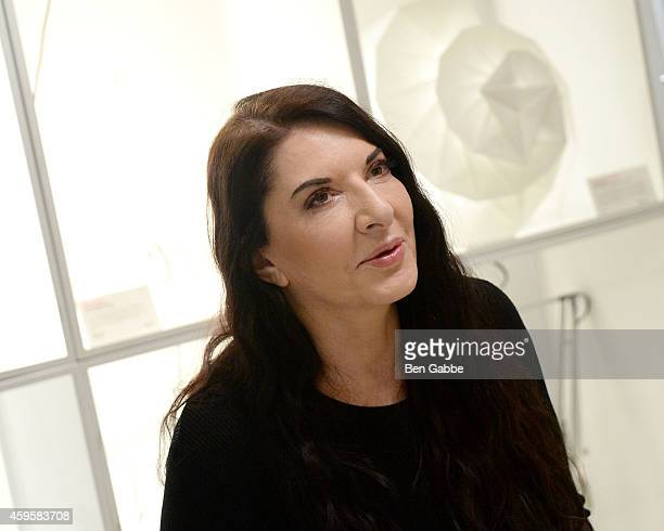 Artist Marina Abramovic attends Marina Abramovic and Pineda Covalin Collaborative Design Benefit Event at MOMA Design Store on November 25 2014 in...