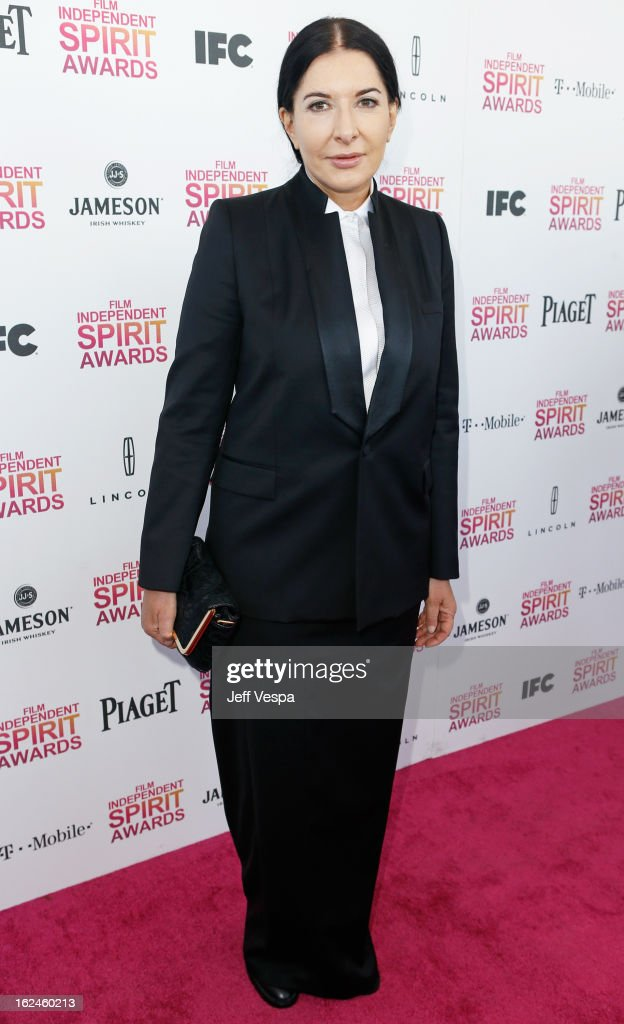 Artist Marina Abramovic attends the 2013 Film Independent Spirit Awards at Santa Monica Beach on February 23, 2013 in Santa Monica, California.
