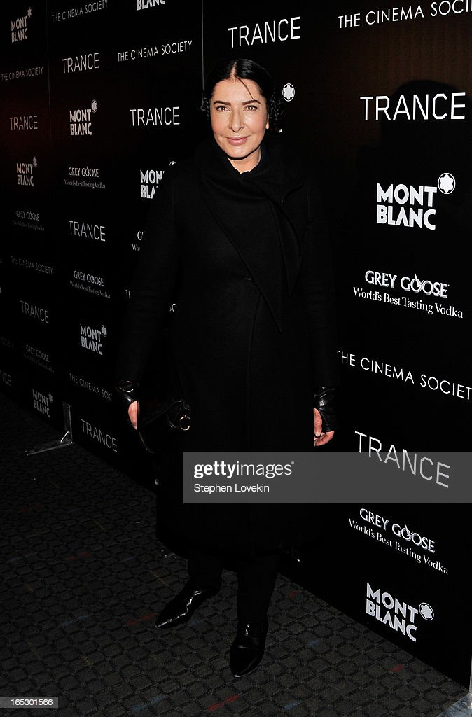 Artist Marina Abramovic attends the premiere of Fox Searchlight Pictures' 'Trance' hosted by The Cinema Society & Montblanc at SVA Theater on April 2, 2013 in New York City.