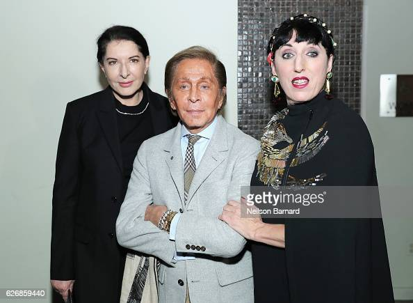 Artist Marina Abramovic fashion designer Valentino and actress Rossy de Palma attend a screening of Sony Pictures Classics' 'Julieta' hosted by The...