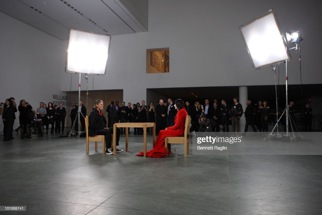 Artist Marina Abramovic performs during the 'Marina Abramovic The Artist is Present' exhibition opening night party at The Museum of Modern Art on...
