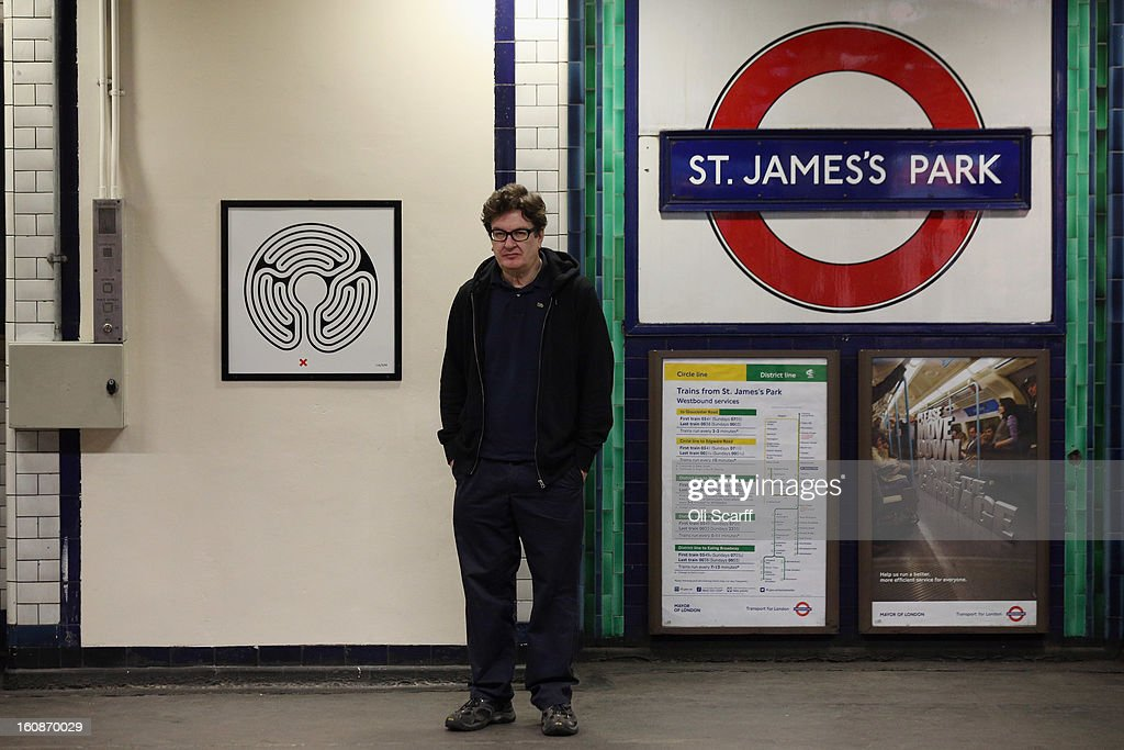 Artist Mark Wallinger unveils his artwork on the platform of St James's Park Station as part of London Underground's largest ever art commission on February 7, 2013 in London, England. Mr Wallinger has been commissioned to produce artworks in all 270 stations on the Underground network to celebrate the 150 year anniversary of the tube opening.