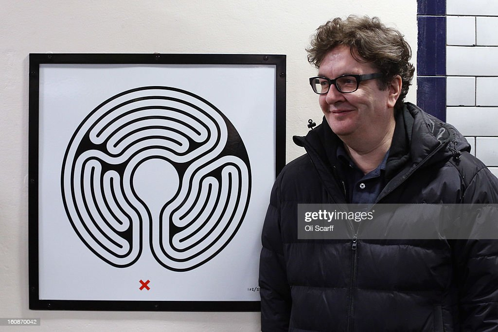 Artist <a gi-track='captionPersonalityLinkClicked' href=/galleries/search?phrase=Mark+Wallinger&family=editorial&specificpeople=4105969 ng-click='$event.stopPropagation()'>Mark Wallinger</a> unveils his artwork on the platform of St James's Park Station as part of London Underground's largest ever art commission on February 7, 2013 in London, England. Mr Wallinger has been commissioned to produce artworks in all 270 stations on the Underground network to celebrate the 150 year anniversary of the tube opening.