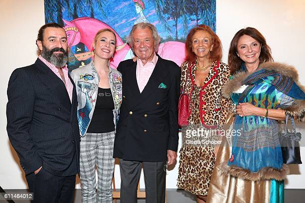 Artist Mauro Bergonzoli and his partner Franziska FuggerBabenhausen Toni Meggle and his wife Marina Meggle and Uschi Daemmrich von Luttitz during the...