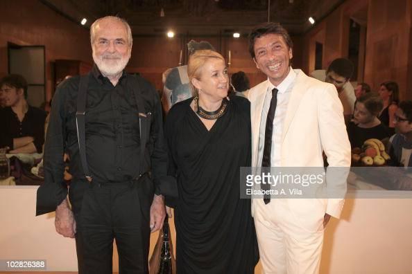Artist Michelangelo Pistoletto Silvia Venturini Fendi and designer Pier Paolo Piccioli attend Michelangelo Pistoletto opening exhibition hosted by...