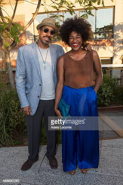 Artist Nari Ward and Taja Cheek attend the Anual Fundraising Event at Diller von Furstenberg Sundeck on September 16 2015 in New York City