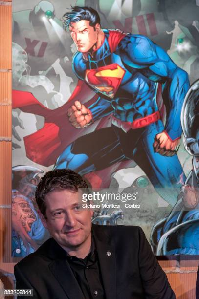 Artist Nathan Sawaya during the 'The Art of the Brick DC Super Heroes' Exhibition at the Palace of Exams on November 30 2017 in Rome Italy The...