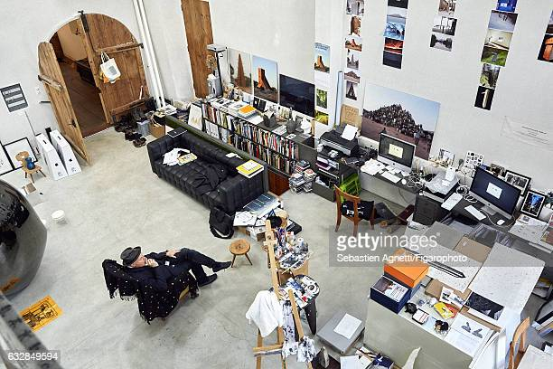 Artist Not Vital is photographed for Madame Figaro on July 14 2016 in Sent Switzerland Not Vital in the workshop in his home in Sent in the east of...