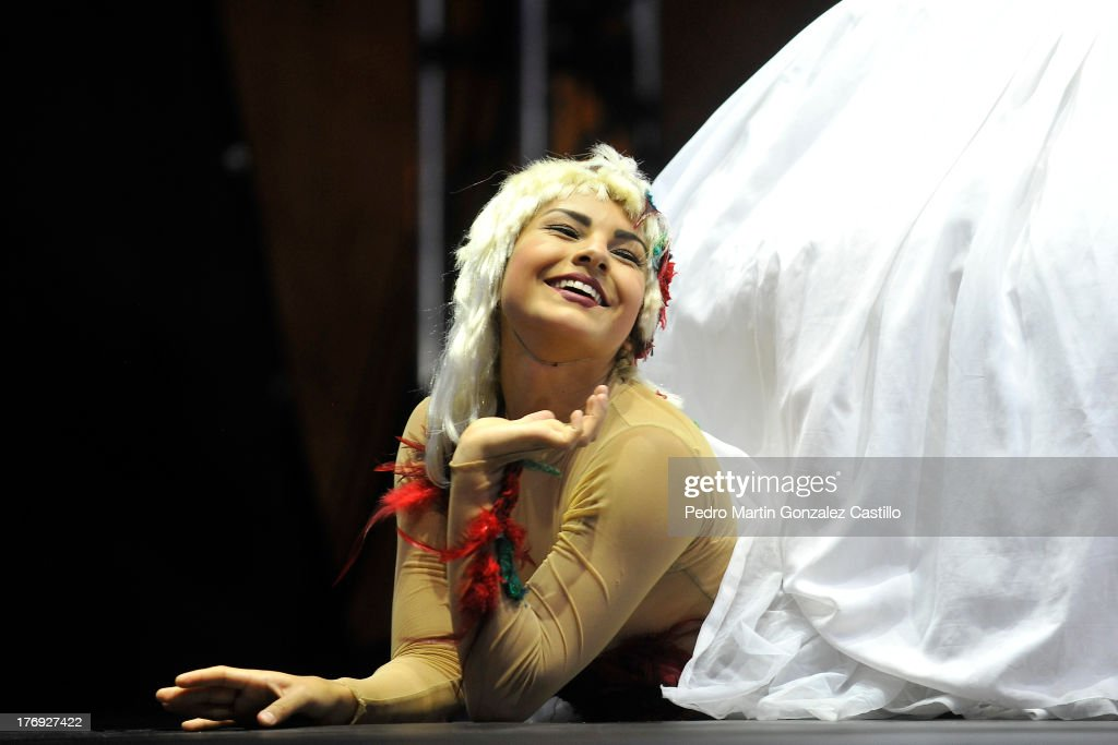 Artist of Cabaret Capicho group performs during the presentation of the show 'El folk chou' During the 6th International Festival Siguientescena at Plaza de Armas on August 16, 2013 in Queretaro, Mexico.