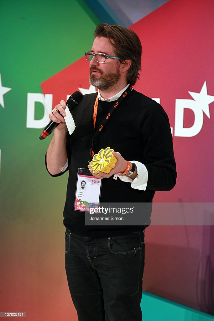 Artist <a gi-track='captionPersonalityLinkClicked' href=/galleries/search?phrase=Olafur+Eliasson&family=editorial&specificpeople=673092 ng-click='$event.stopPropagation()'>Olafur Eliasson</a> speaks during the Digital Life Design conference (DLD) at HVB Forum on January 23, 2012 in Munich, Germany. DLD (Digital - Life - Design) is a global conference network on innovation, digital, science and culture which connects business, creative and social leaders, opinion-formers and investors for crossover conversation and inspiration.