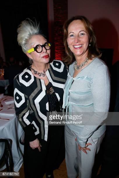 Artist orlan and Segolene Royal attend the 'pascALEjandro L'Androgyne Alchimique' Exhibition Opening at Azzedine Alaia Gallery on April 27 2017 in...