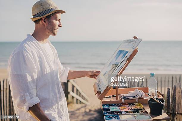 Artist painting outdoor