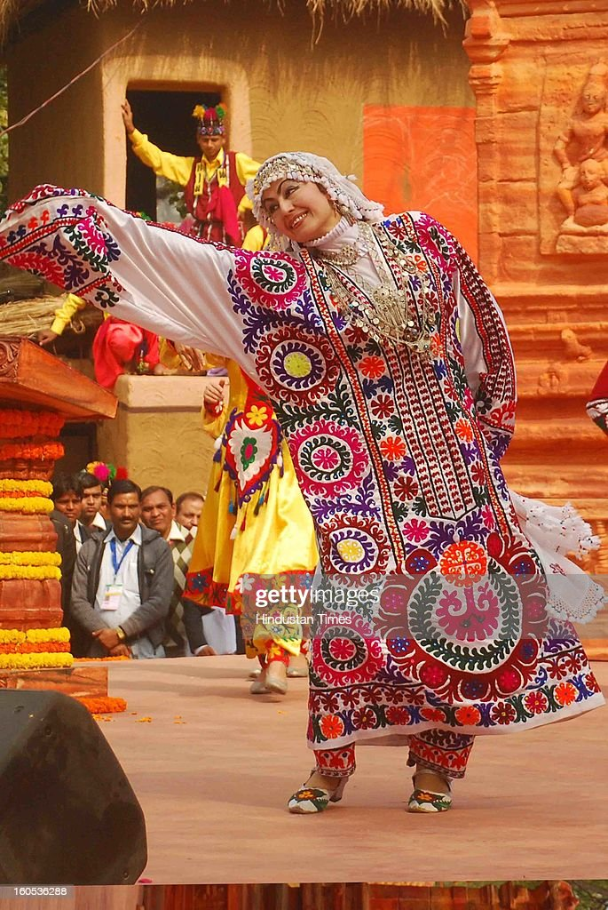 Artist perform on the 'choupal' during the inauguration of 27th Surajkund International Crafts Mela on February 2, 2013 at Surajkund Near Faridabad, India.