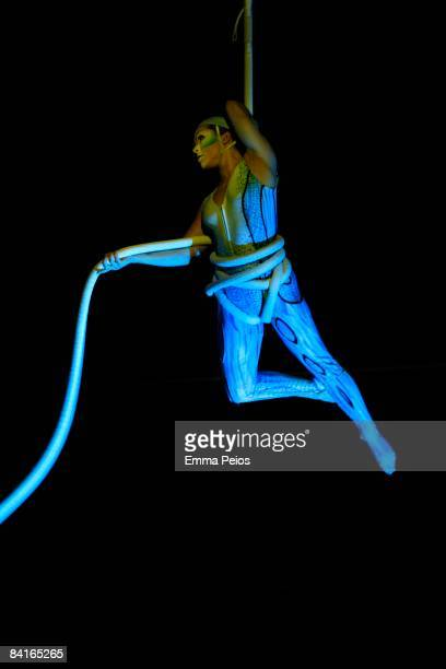 Artist performs at the dress rehearsals of Cirque du Soleil Quidamat Royal Albert Hall on January 3 2009 in London England