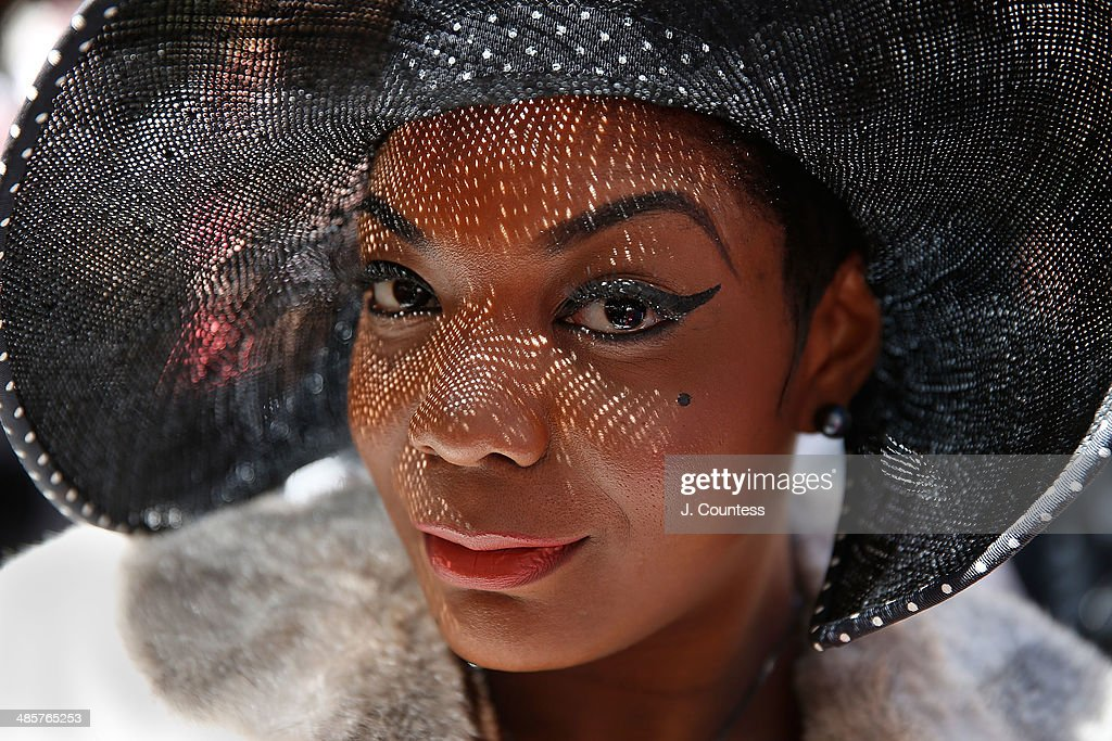Artist Perle Noire is seen on 5th Ave during the annual Easter Parade and Bonnet Festival on Easter Sunday on April 20, 2014 in New York City.